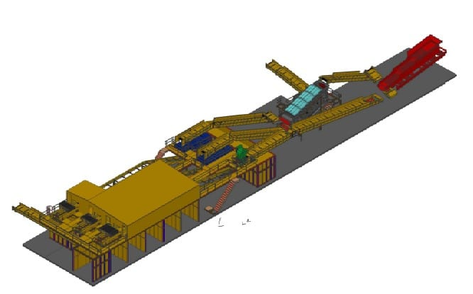 Recycling plant installation layout